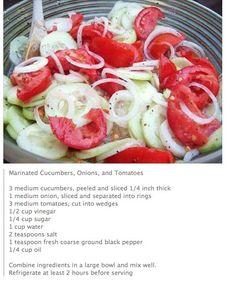 Marinated Cucumbers, Cucumber Tomato Salad, Onion Salad, Cucumber Recipes, Salad Recipes, Cucumber Salad Vinegar, Avocado Salad, Cucumbers And Onions, New Recipes
