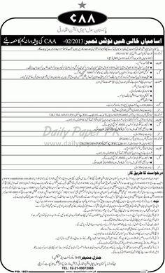 Job Opportunities In Pakistan Civil Aviation Authority Karachi  http://www.dailypaperpk.com/jobs/179974/job-opportunities-pakistan-civil-aviation-authority-karachi