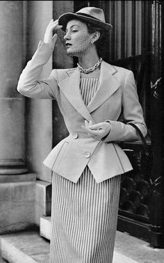 1951Sophie Malgat in yellow wool jacket,nipped in the waist with slight flare by Jacques Fath, photo by Pottier