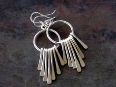 Sterling Silver Spike Earring Free Dangle Spikes by SunSanJewelry