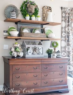 Open rustic industrial farmhouse shelves decorated for spring || Worthing Court