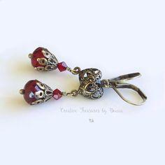 Brass Earrings Victorian Style Earrings Red Czech Glass Beads Red Swarovski Crystals Heart Earrings Valentine's Day Earrings by Ctbydonna on Etsy