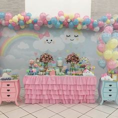 Adorable kawaii inspired theme birthday party perfect for a baby shower, birthday party, toddlers or little girls # Rainbow Birthday, Unicorn Birthday Parties, Unicorn Party, Baby Birthday, Party Decoration, Balloon Decorations, Birthday Decorations, Cloud Party, Baby Shower