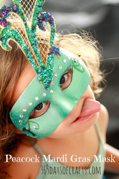 peacock Mardi gras mask to coordinate with peacock tutu.  365 days of crafts.