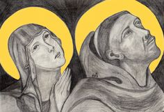 St. Clare and St. Francis of Assisi Drawing by Kathy Ellinger, OFS