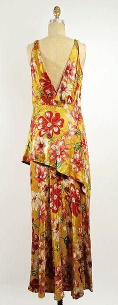 Evening dress Callot Soeurs  (French, active 1895–1937)  Date: ca. 1930 Culture: British Medium: silk, metallic thread. Back