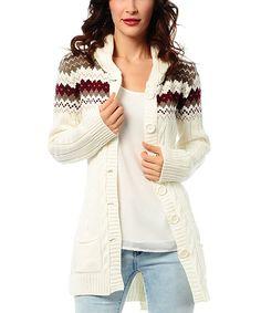 Cream Hooded Zigzag Cardigan
