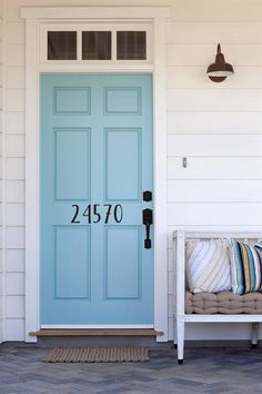 Front Door Paint Colors - Want a quick makeover? Paint your front door a different color. Here a pretty front door color ideas to improve your home's curb appeal and add more style! Front Door Numbers, Wood Front Doors, Painted Front Doors, Address Numbers, Address Plaque, House Address, Address Signs, Metal Numbers, Front Door Handles