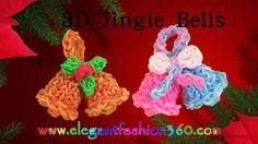 Rainbow Loom Jingle Bells 3D Charms - How to Loom Bands Tutorial/Christm...