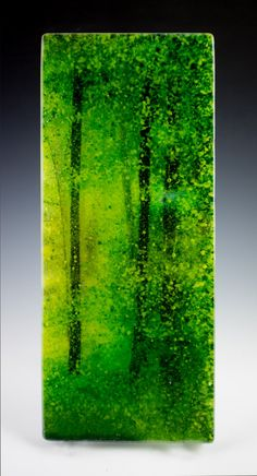 Green Forest Fused Glass Panel 5 by 12 by Pezzulich Glassworks