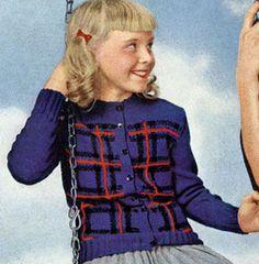 Elliot Tartan Cardigan knit pattern from Tartans, Clark's O.N.T. J. Coats, Book No. 501, in 1951.