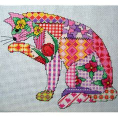 Patchwork Cat cross stitch Pattern. PDF instant download on Etsy