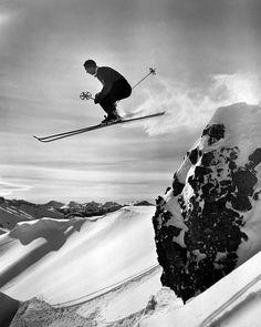 Dolomite. Retro ski. Italy.