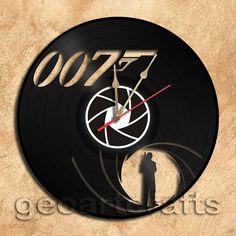 Wall Clock James Bond Vinyl Record Clock home decoration housewares Upcycled Gift Idea
