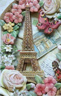 塔の隙間もカッターで抜いています。 3d Art Painting, Painting On Wood, 3d Paper, Paper Crafts, Paris Cards, Decoupage, Rice Paper, Altered Books, Paper Mache