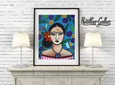 Frida Kahlo Art Print Poster of Painting by Heather Galler Mexican Folk Art