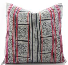 Hmong Pillow Cover Vintage Textile Ethnic Handwoven by Boho Pillow