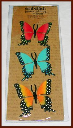 Demdaco Embellish Your Story Magnet Set of 3 Butterfly | eBay