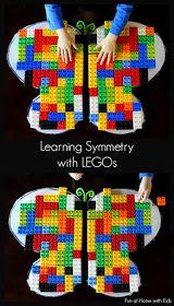 Un amusement et simple leçon sur la symétrie en utilisant LEGO et un papillon collant à ailes de Fun à la maison avec les enfants