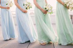 sky blue and seafoam green long bridesmaids dresses.