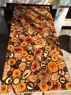 Wood pieces resin countertop