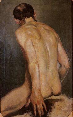 'Nude Male Study' , c. 1877 by Jacek Malczewski, (Polish 1854-1929) Oil on canvas. Lviv Art Gallery, Lviv, Ukraine.
