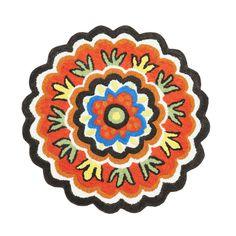 Petaled Symmetry Rug in Dark Brown | dotandbo.com