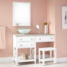 72 Quot Montara Teak Vessel Sink Vanity With Makeup Area