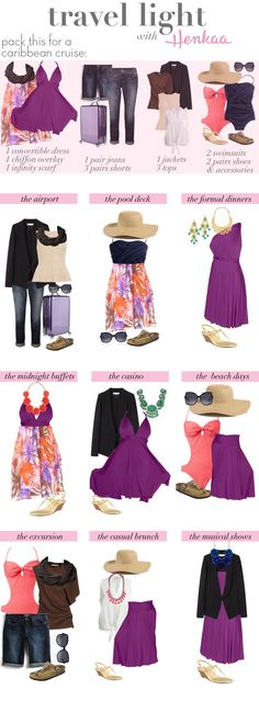 Great ideas on how to travel light for a Caribbean cruise. www.tipsoncruising.com