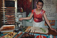 Skewered meat BBQ wrapped in lavash bread at a local kebab joint, Armenia; photo: Dan & Audrey @uncorneredmarket