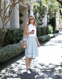 Mint Eyelet Midi Skirt - MEMORANDUM, formerly The Classy CubicleMEMORANDUM, formerly The Classy Cubicle