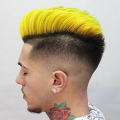 Pompadour déconnecté + Dégradé moyen Yellow Hair Dye, Hair Dye Colors, Natural Hair Men, Natural Hair Styles, Mens Hair Colour, Hair Color, Dyed Hair Men, Men Hair, Boys Haircuts With Designs