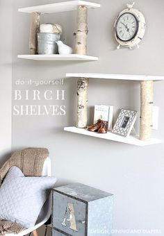 Add a little nature to your decor with these rustic DIY Birch Shelves. Diy Shelves, Decor, Diy Decor, Rustic Diy, Home Diy, Shelves, Diy Projects Shelves, Diy Furniture, Home Decor