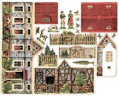 Decoupage Mnóstwo DOMKÓW do pobrania i drukowania cz 10 Putz Houses, Fairy Houses, Paper Doll House, Paper Houses, House Template, Fairytale Cottage, Theme Noel, Christmas Villages, Paper Models