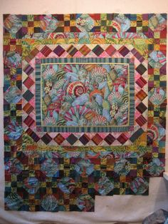 Inspiration by Philip Jacobs/ Quilt by Kitty Sorgen  This magical seashell fabric was created by Philip Jacobs. It's begging me to put it into