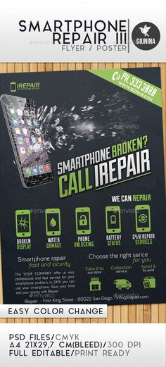 PSD Cool Smartphone Repair Flyer/Poster Template • Only available here ➝ http://graphicriver.net/item/smartphone-repair-3-flyerposter/13080510?ref=pxcr