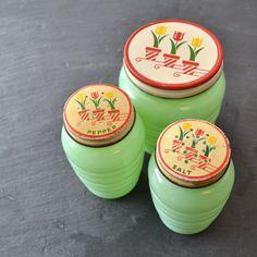 Fire King Jadeite - Jadite Range Set - Salt and Pepper Shakers - Grease Jar - Tulip Lids - Set of 3 via Etsy