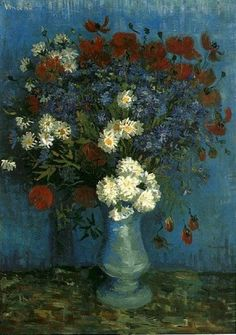 Vase with Cornflowers and Poppies by Vincent Van Gogh, 1887.