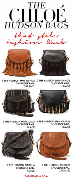 The 'It' Bags that stole New York Fashion Week 2015, seen on all the top fashion bloggers. Chloe's Hudson bags: tassels and fringe everywhere - boho chic.