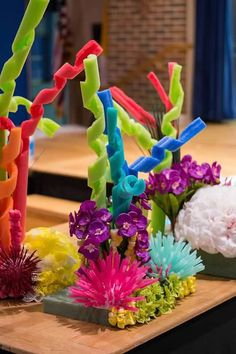 Coral reefs decorations under the sea, finding dory, finding nemo, little mermaid done by Ruby Olvera Party Fiesta, Luau Party, Beach Party, Under The Sea Theme, Under The Sea Party, Little Mermaid Birthday, The Little Mermaid, Spongebob Party, Under The Sea Decorations