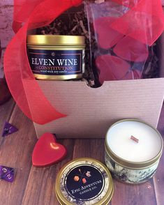 Soy Candles, Candle Jars, Valentines Gift Box, Wax Tarts, Fantasy Rpg, Geek Gifts, Tins, Cork, Wicked