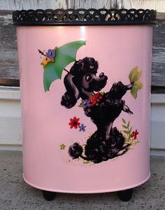 Vintage 50s 60s Ransburg Pink Black Metal French Poodle Trash Can Wastebasket 39.99