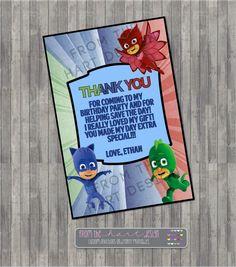 Disney Junior PJ Mask Inspired Birthday Thank You Card, Personalized, Superhero, Catboy, Gekko, Owlette by FromTheHartDesign on Etsy https://www.etsy.com/listing/254923443/disney-junior-pj-mask-inspired-birthday