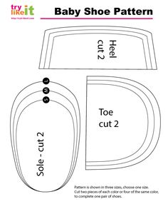 Reversible Baby Shoe :: Tutorial and Images of Baby Shoe Pattern Template Baby Moccasin Pattern, Baby Shoes Pattern, Shoe Pattern, Baby Patterns, Sewing Patterns, Baby Sewing Projects, Sewing For Kids, Baby Shoes Tutorial, Baby Shoe Sizes