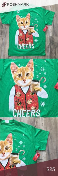 Cotton Crazy Cat Egg Nog Christmas Shirt SZ Large Cute shirt perfect for Christmas! This is the perfect gift for the crazy cat lover! Tops Tees - Short Sleeve