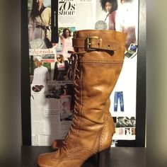 """""""LACE UP"""" Granny Boots Lace up boots with zipper inside and buckle on the outside. Classic look that can be worn with dresses skirts or jeans. Flaws are shown in pics. Heel 3"""" Best fits sizes 7.5/8 Shoes Lace Up Boots"""