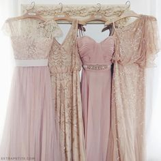 mix and match bridesmaid dresses in tulle, beading, blush pink and champagne