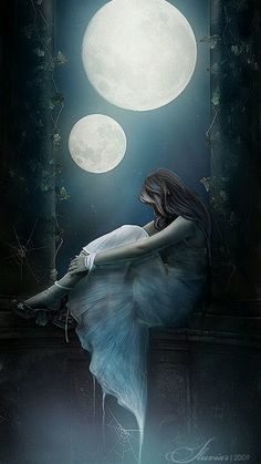 Illustration Moon Woman under two full moons at the lake Fantasy Magic, Fantasy World, Fantasy Kunst, Fantasy Art, Elfen Fantasy, Moon Magic, Beautiful Moon, Moon Goddess, Jolie Photo