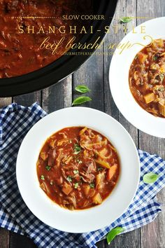 Beef stew meat slow cooked with roux sautéed onion, carrots, potatoes and cabbage in a tomato base, this Shanghai-style beef borscht soup makes a delicious comfort meal on a chilly day.