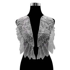 Large organza embroidered angel wing lace applique, A pair of black or off white applique patch trim lace motif for costume decoration Bridal Lace Fabric, Wedding Fabric, Tulle Fabric, Sewing Trim, Cool Fabric, Embellished Dress, Aliexpress, Lace Applique, Floral Lace